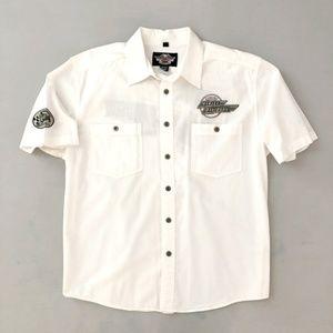 Harley Davidson Men's White Button Down Shirt XL